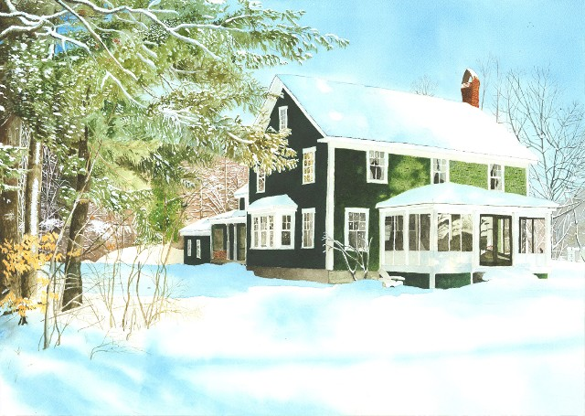 Watercolor - House In Snow